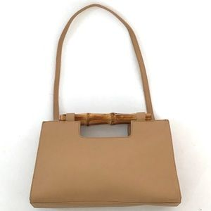 TALBOTS NATURAL BAMBOO HANDLE PEBBLED LEATHER BAG
